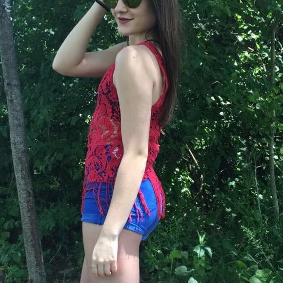 Charlotte Russe Tops - Fringe Red Tank Top